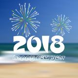 Happy new year 2018 on blue beach like abstract color background with fireworks eps10. Happy new year 2018 on blue beach like abstract color background with royalty free illustration