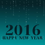 Happy New Year 2016. Blue bokeh blinking background Royalty Free Stock Photo