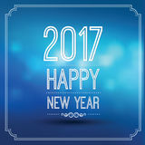 Happy new year 2017. In blue bokeh pattern background with vintage frame,vector illustration Stock Images
