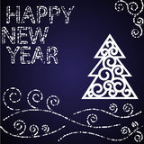 Happy new year blue card Royalty Free Stock Photos