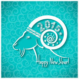 Happy New year blue card with goat horn and text. Happy New year card with goat horn.Vector illustration for text Royalty Free Stock Photos