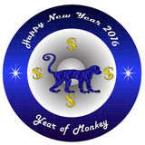 202. Happy New year 2016  with blue circle and blue monkey Royalty Free Stock Images