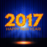 Happy New 2017 Year on blue curtain Royalty Free Stock Photography