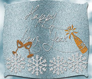 Happy New Year. On blue glitter background Royalty Free Stock Photography