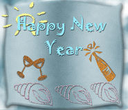 Happy New Year. On blue glitter background with snowflakes Royalty Free Stock Photo