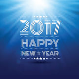 Happy new year 2017. In blue glow light pattern background ,vector illustration Royalty Free Stock Images