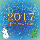 2017 Happy New Year blue with green background  Stock Photos