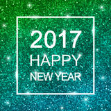 2017 Happy New Year on blue green glitter. Vector. 2017 Happy New Year card on blue green shiny glitter background. Vector illustration Royalty Free Stock Photography