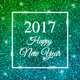 2017 Happy New Year on blue green sparkling background. Vector. 2017 Happy New Year card on blue green sparkling background. Vector illustration Stock Photos