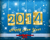 Happy New Year 2014. Blue Greeting Card royalty free illustration