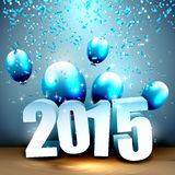 Happy New Year 2015. Blue greeting card with 3D numbers, balloons and confetti Stock Illustration
