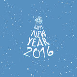 Happy New Year blue greeting card template. Happy New Year 2016 blue greeting card template. Lettering hand drawn design as stylized christmas tree. Sunburst Stock Photography