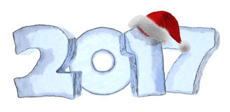 2017 Happy New Year blue ice text with fluffy red hat. Happy New Year creative holiday concept - 2017 new year sign text written with numbers made of clear blue Royalty Free Stock Photos