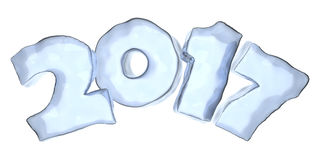 Happy New Year 2017 blue ice text isolated. Happy New Year 2017 sign text written with numbers made of blue clear ice isolated on white, Happy New Year 2017 Stock Photography
