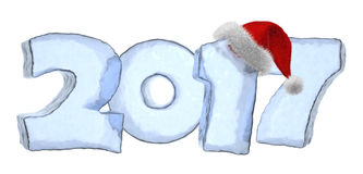 2017 Happy New Year blue ice text with red hat. Happy New Year creative holiday concept - 2017 new year sign text written with numbers made of clear blue ice Stock Images