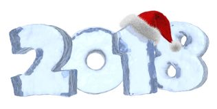 Happy New Year 2018 blue ice text with red hat. Happy New Year 2018 sign text written with numbers made of clear blue ice with Santa Claus fluffy red hat, new Royalty Free Stock Photo