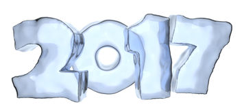 2017 Happy New Year blue ice text  on white. Happy New Year 2017 sign text written with numbers made of clear blue ice  on white, Happy New Year 2017 winter Stock Photography