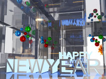 Happy new year blue light 3D text Stock Photo