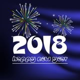 Happy new year 2018 on blue navy abstract color background with fireworks eps10. Happy new year 2018 on blue navy abstract color background with fireworks vector illustration