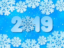 Happy New Year 2019 blue paper cut out vector background stock illustration