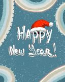 Happy new year blue pattern with a red hat stock illustration