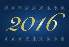 Happy New 2016 year blue poster Stock Photography