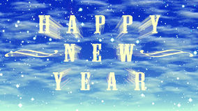 Happy New Year at blue sky background. Happy New Year illustration at blue sky with clouds background Royalty Free Stock Image