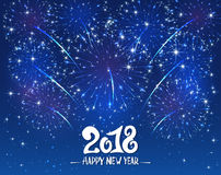 Happy New Year 2018 and blue sparkle firework Royalty Free Stock Photo