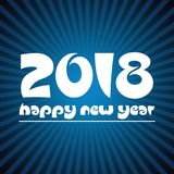 Happy new year 2018 on blue stripped background eps10. Happy new year 2018 on blue stripped background Royalty Free Stock Images