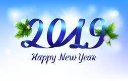 Happy New Year 2019 on blue sunny background. royalty free illustration