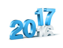 2017 Happy New Year. New Year blue 2017 type over 2016,  on white - 3D illustration Stock Photo