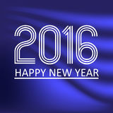 Happy new year 2016 on blue wave color background eps10 Stock Photography