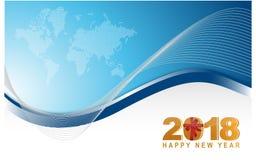 2018 happy new year blue world winter card. Illustration design Stock Photos