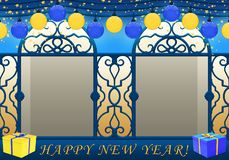 Happy New Year in blue and yellow royalty free illustration
