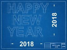 Happy New year 2018 - Blueprint Royalty Free Stock Images