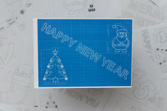 Happy New Year Blueprint Stock Image