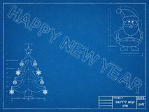 Happy New Year Blueprint Stock Photo