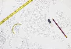 Happy new year blueprints Stock Photos