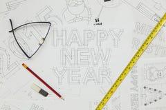 Happy New Year Blueprints Royalty Free Stock Photos