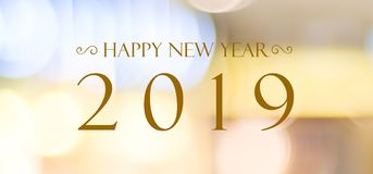 Happy New Year 2019 on blur abstract bokeh background, new year royalty free stock photo