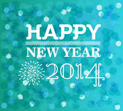 Happy new year 2014 blur lights vintage design Stock Image
