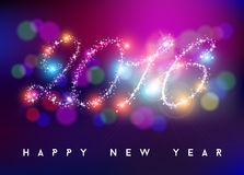 Happy new year 2016 bokeh blur color star shape Royalty Free Stock Images
