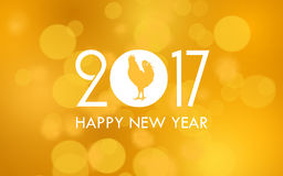 Happy new year 2017. With bokeh illustration background Stock Image