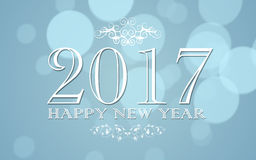 Happy new year 2017. With bokeh illustration background Stock Photography