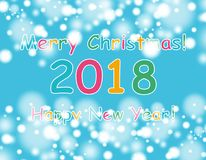 Happy new year 2018 with bokeh and lens flare pattern on blue sky background. vector Stock Photography