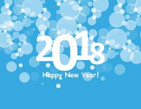 Happy new year 2018 with bokeh and lens flare pattern on blue sky background. vector Stock Image