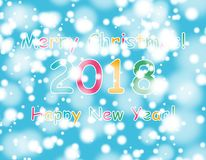 Happy new year 2018 with bokeh and lens flare pattern on blue sky background. vector Stock Photo