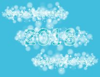 Happy new year 2018 with bokeh and lens flare pattern on blue sky background. vector Stock Images
