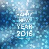 Happy new year 2016 with bokeh and lens flare pattern in blue winter background. Happy new year 2016 with bokeh and lens flare pattern in blue winter sky royalty free illustration