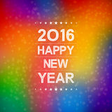Happy new year 2016 with bokeh and lens flare pattern in colorful background. Happy new year 2016 with bokeh and lens flare pattern in abstract colorful Royalty Free Stock Photo